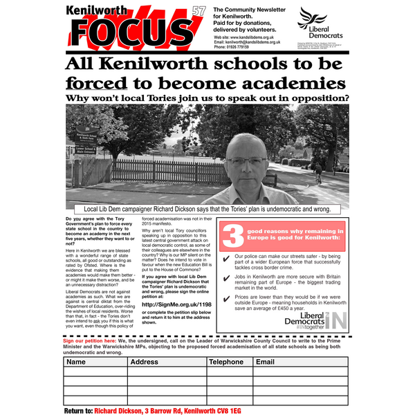 Kenilworth Focus 57 front page